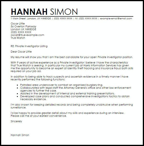 Private Investigator Cover Letter Sample  Cover Letter Templates  Examples