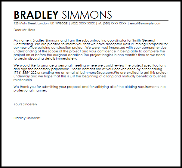 Proposal Acceptance Letter Example  Letter Samples  Templates
