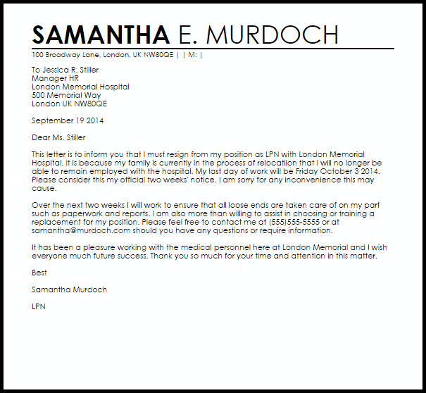 Resignation Letter Example Due to Relocation  Letter Samples  Templates