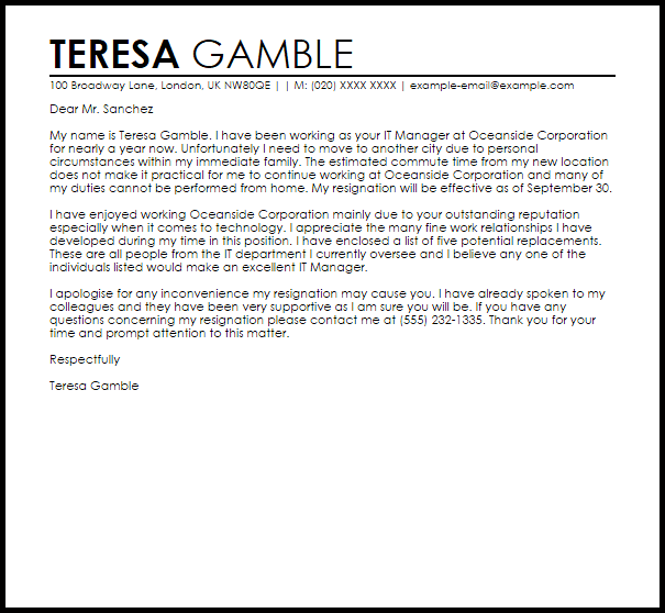 Resignation Letter Example to Whom It May Concern  Letter Samples  Templates