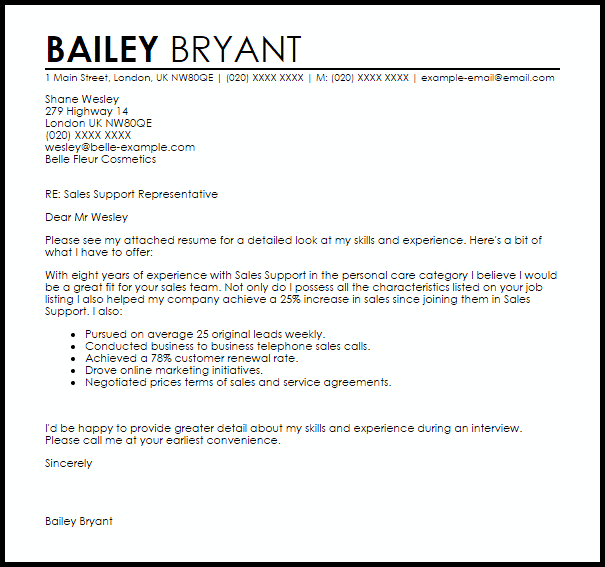 Sales Support Cover Letter Sample Cover Letter Templates