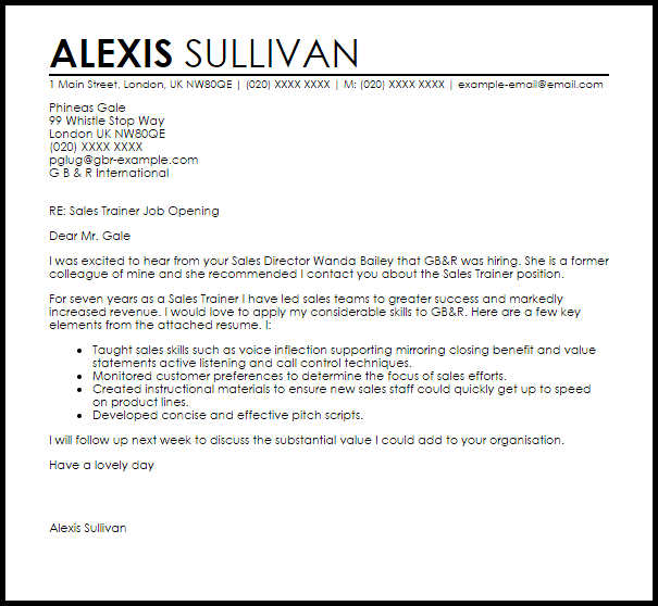 Sales Trainer Cover Letter Sample  Cover Letter Templates  Examples