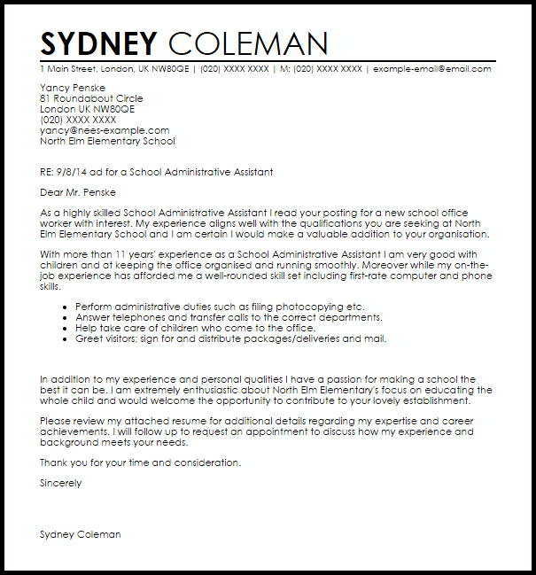 School Administrative Assistant Cover Letter Sample  Cover Letter Templates  Examples