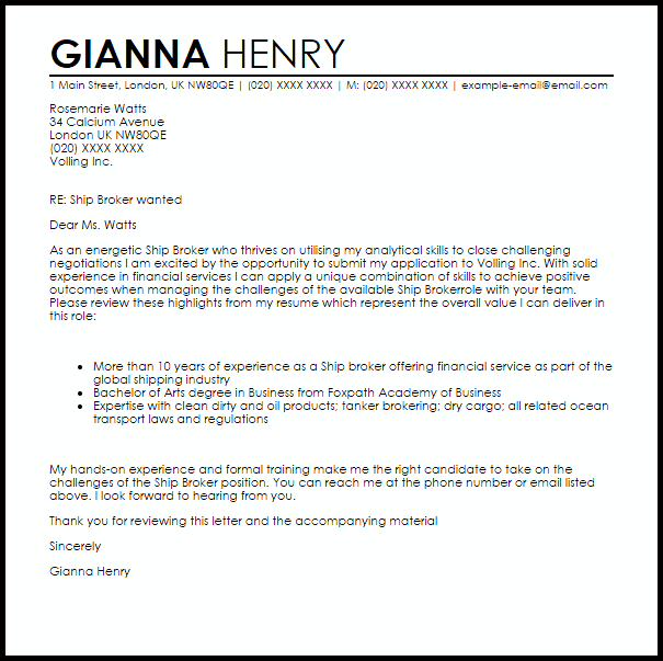 Ship Broker Cover Letter Sample Cover Letter Templates