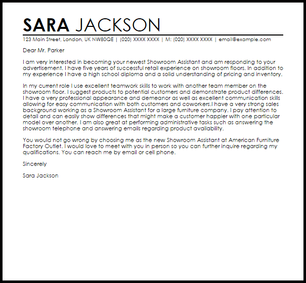 Showroom Assistant Cover Letter Sample Cover Letter