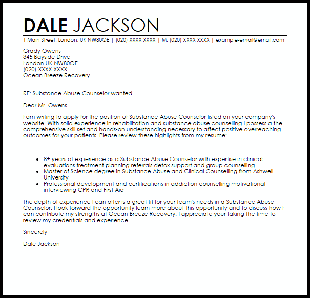 Substance Abuse Counselor Cover Letter Sample  Cover