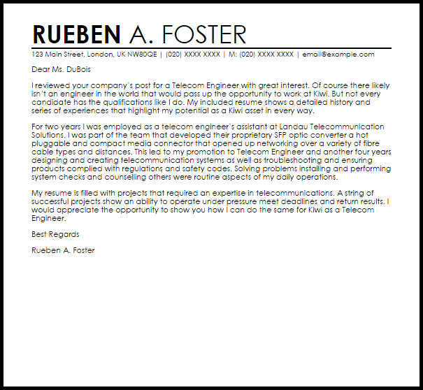 Telecom Engineer Cover Letter Sample Cover Letter
