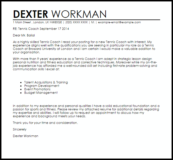 Tennis Coach Cover Letter Sample Cover Letter Templates