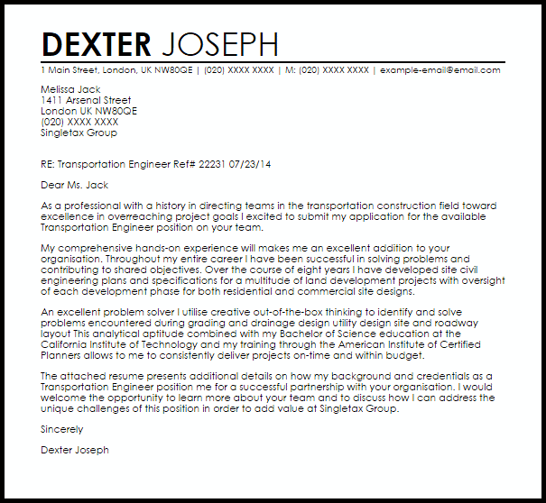 Transportation Engineer Cover Letter Sample  Cover Letter