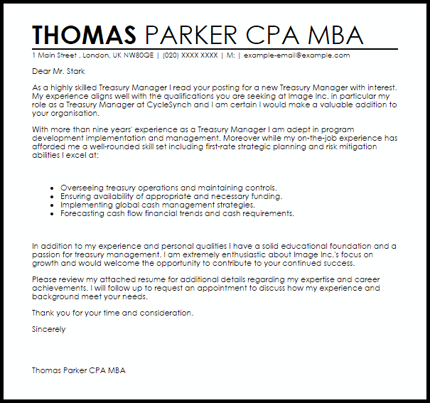 Treasury Manager Cover Letter Sample  Cover Letter Templates  Examples