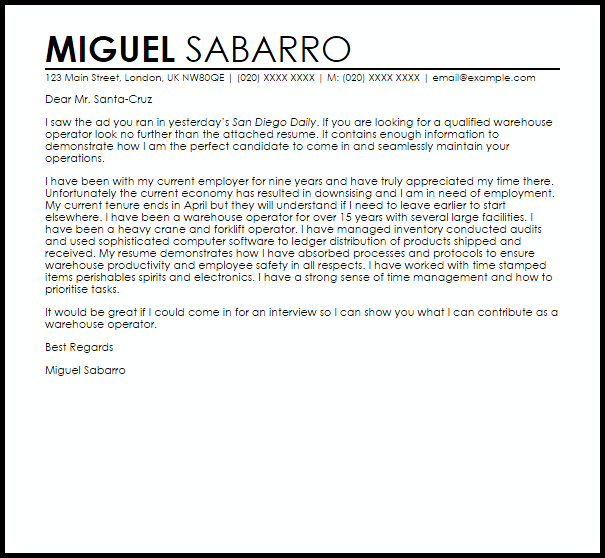 Warehouse Operator Cover Letter Sample Cover Letter