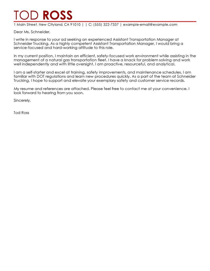 Assistant Manager Cover Letter Examples Transportation Cover Letter Samples LiveCareer
