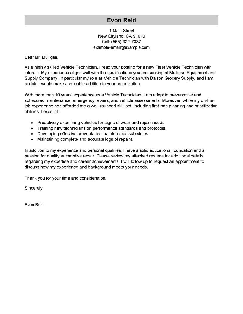 Automotive Technician Cover Letter Examples  Transportation Cover Letter Samples  LiveCareer