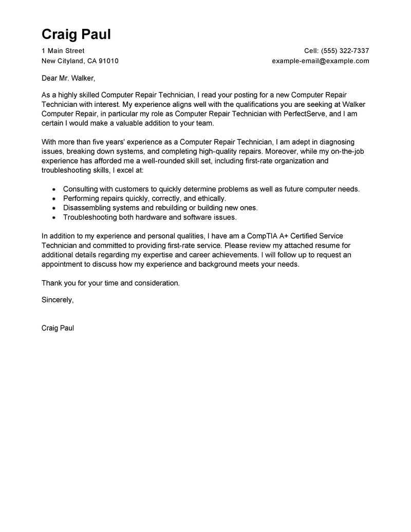 Example Of Application Letter For A Computer Technician