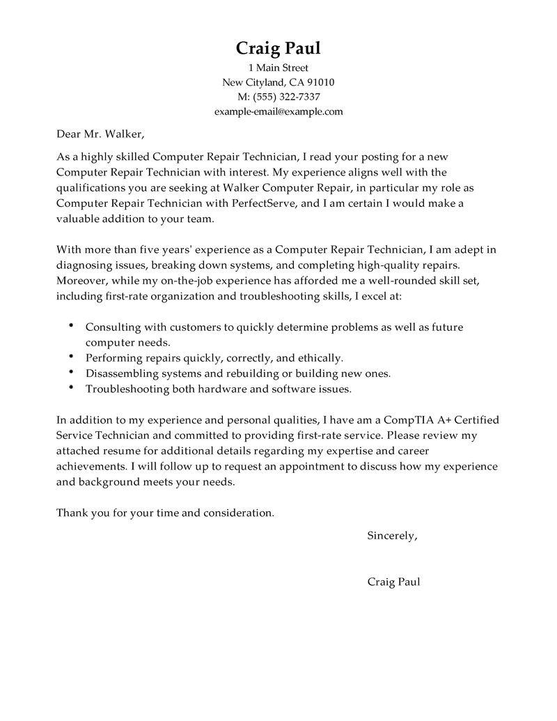 Auto Body Technician Cover Letter Sample  computer technician resume samples cover letter