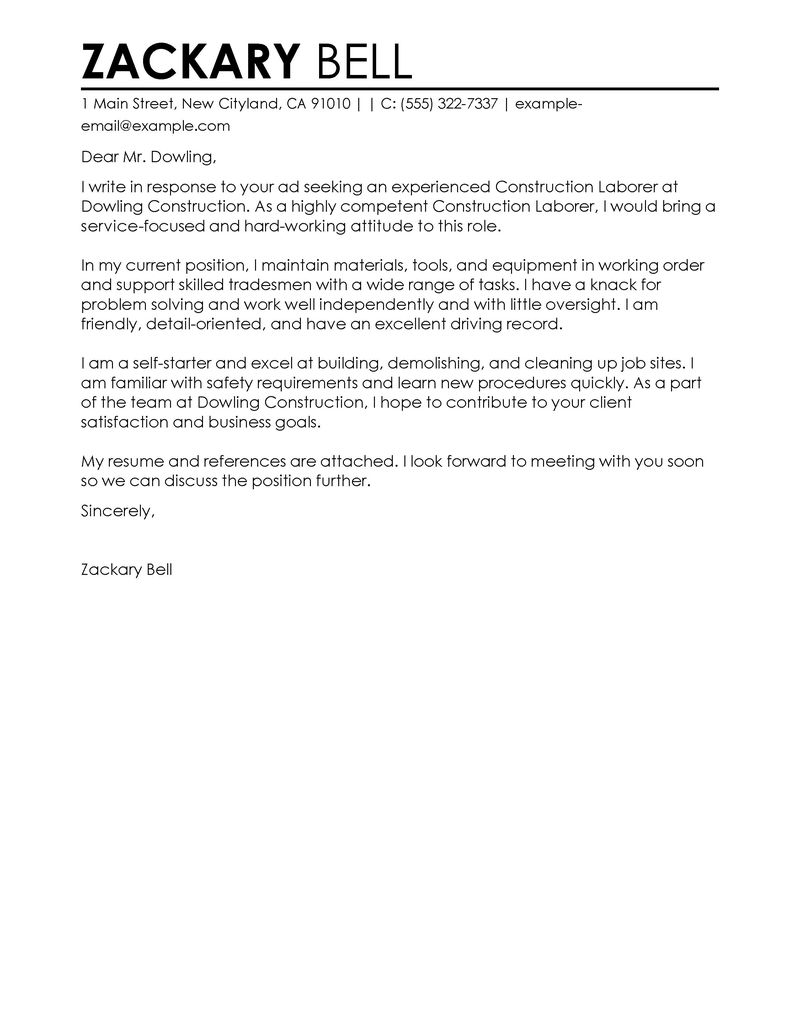 Construction Cover Letter Examples Construction Cover