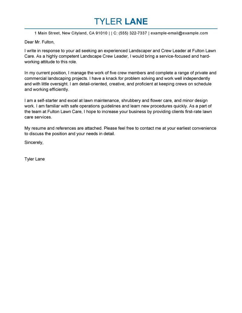 Sample Cover Letter Cover Letter Examples Agriculture