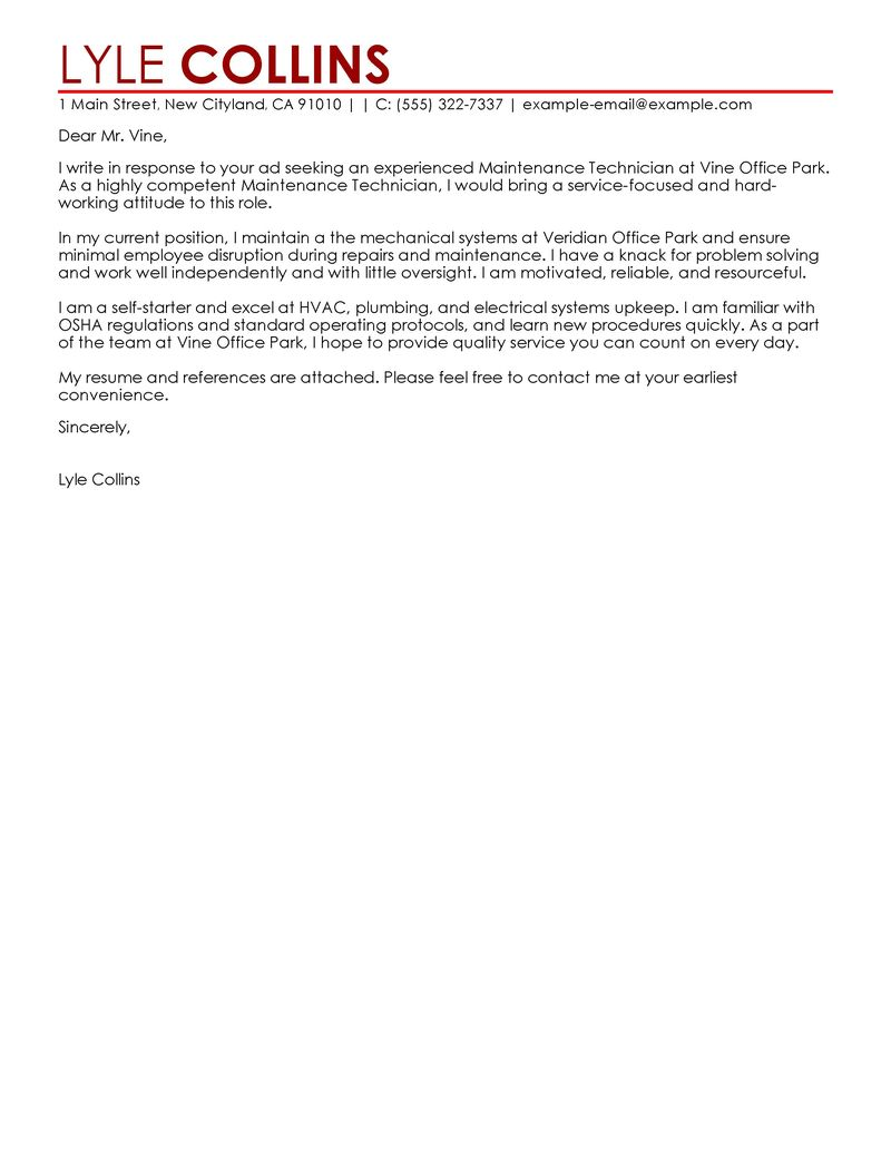 Maintenance Technician Cover Letter Examples  Maintenance  Janitorial Cover Letter Samples