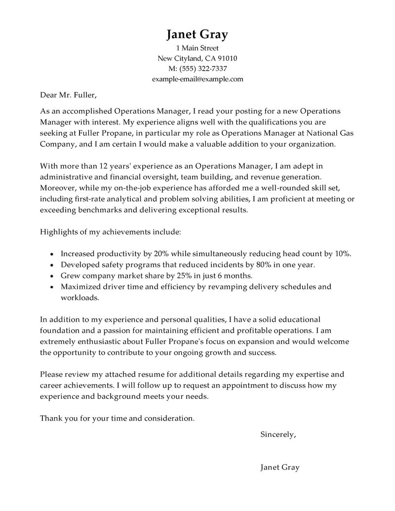 Operations Manager Cover Letter Examples  Management