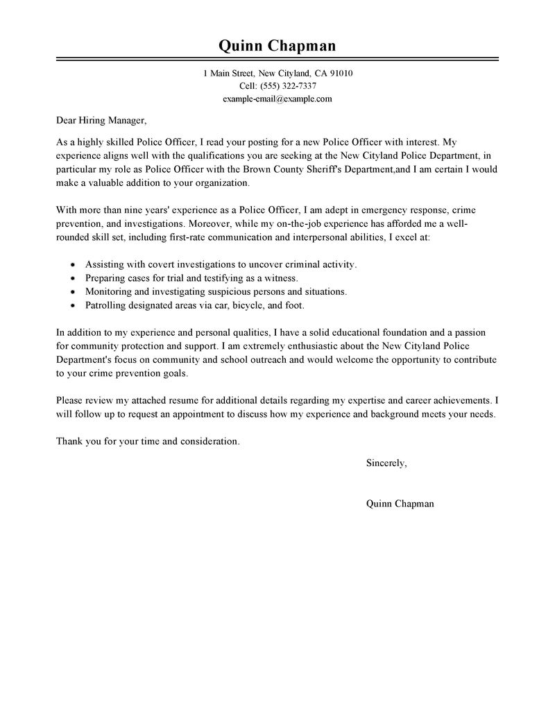 Police Officer Cover Letter Examples Law Enforcement