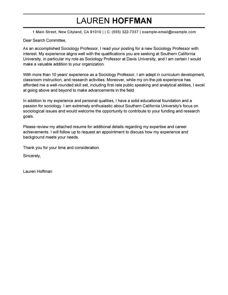 Professor Cover Letter Examples Education Cover Letter Samples LiveCareer