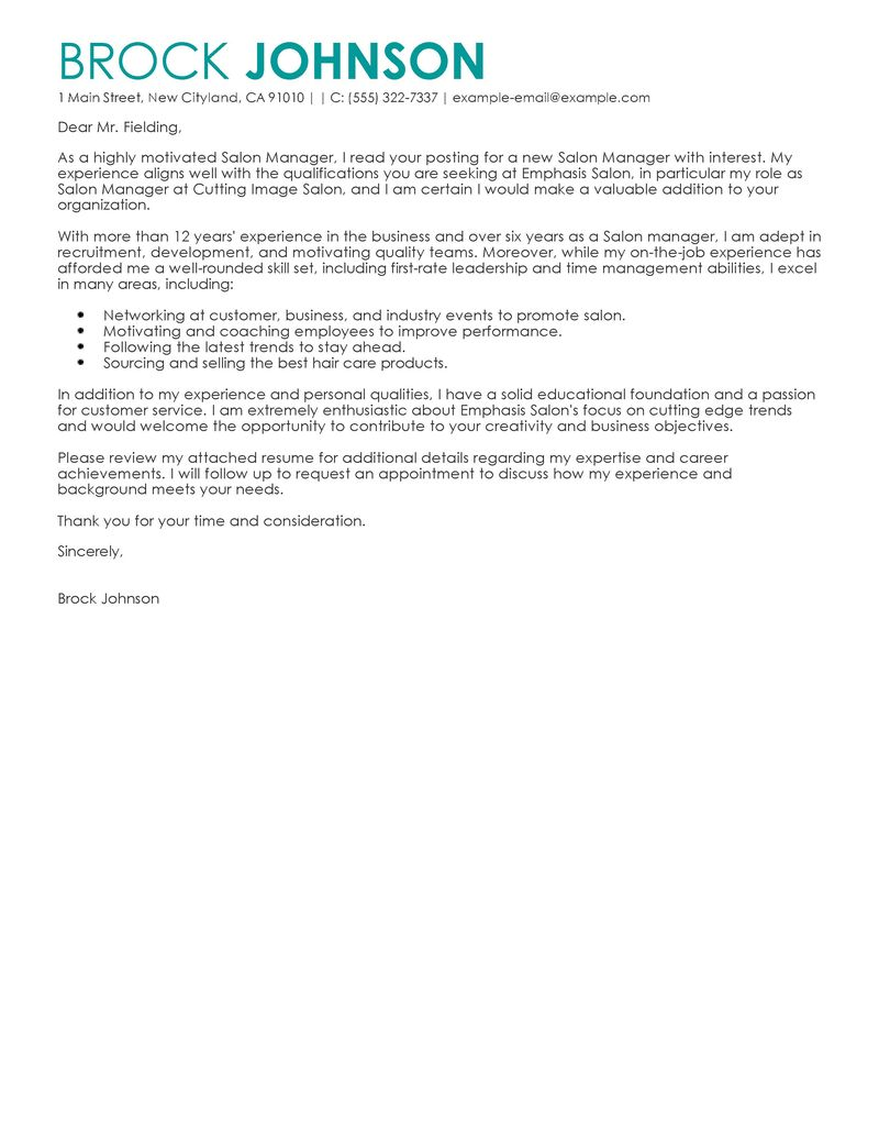 Salon Manager Cover Letter Examples  SalonSpaFitness Cover Letter Samples  LiveCareer
