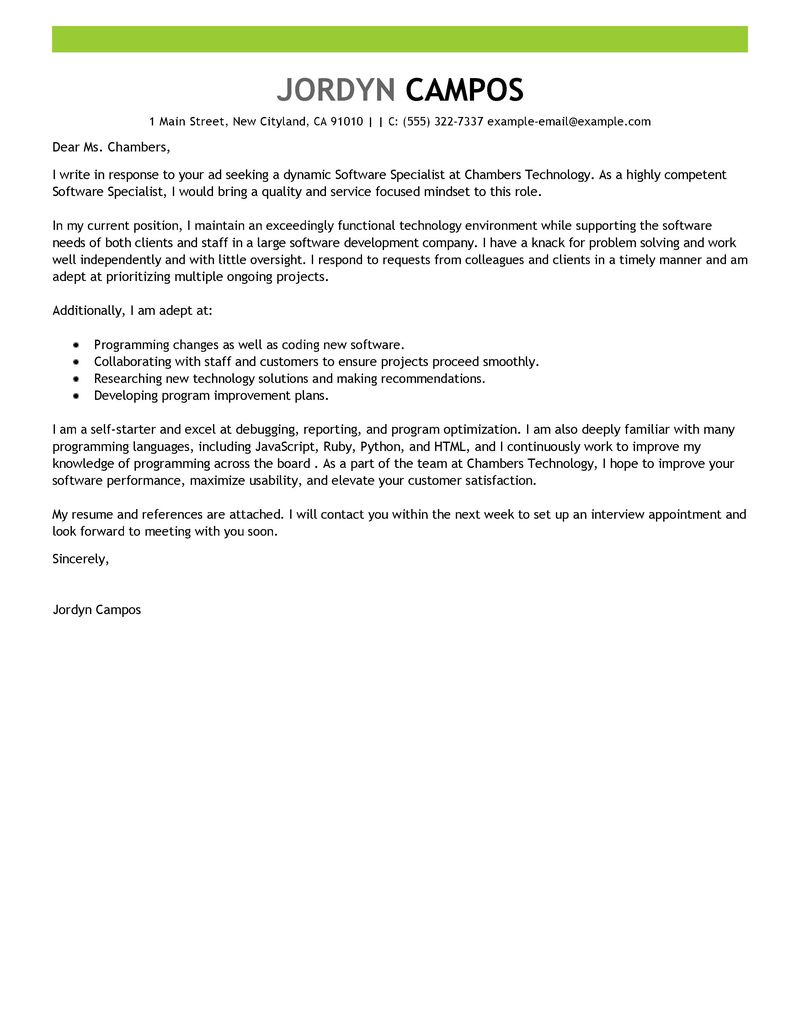 Software Specialist Cover Letter Examples Computers