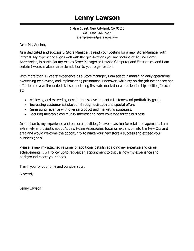 Cover Letter For General Manager Job June 2021