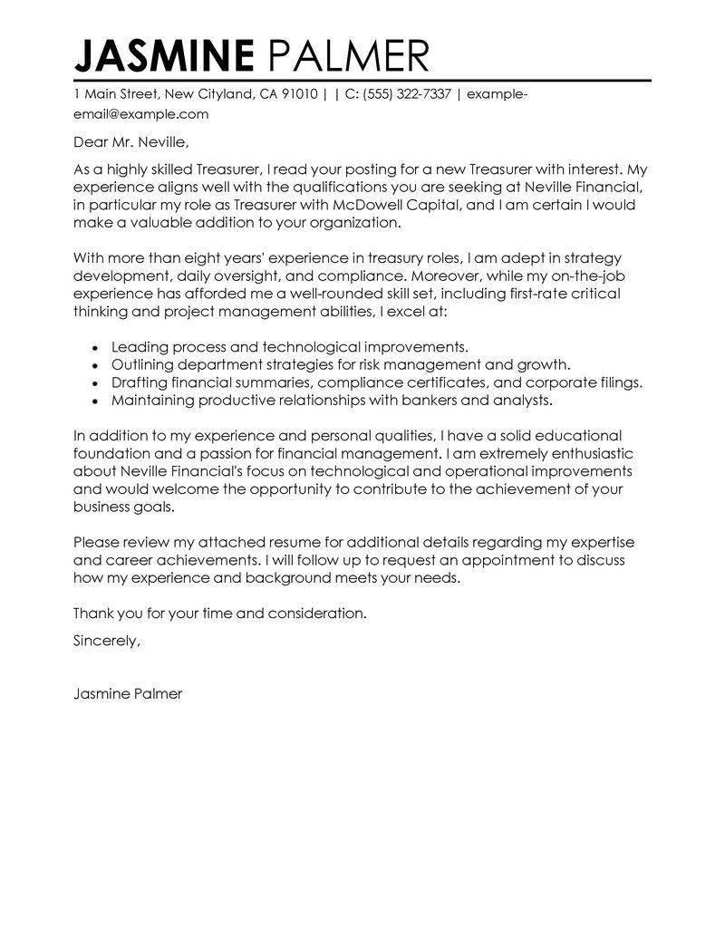 Treasurer Cover Letter Examples Finance Cover Letter