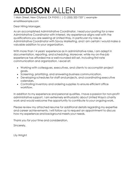 Administrative Coordinator Cover Letter Examples