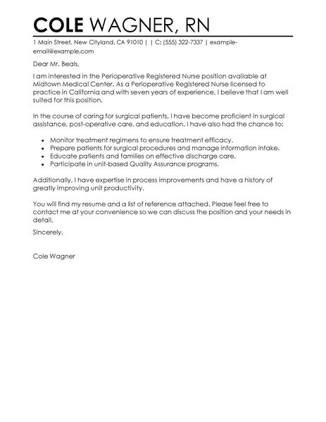 Perioperative Assistant Cover Letter