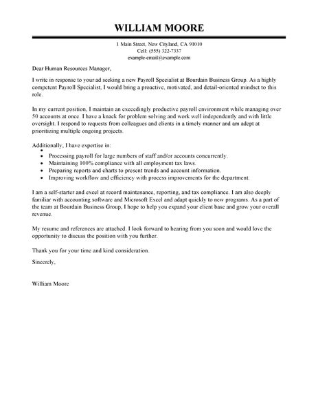 Payroll Specialist Cover Letter Examples  Accounting  Finance Cover Letter Examples  LiveCareer