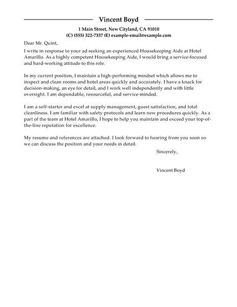 Application Letter For Hotel Room Attendant | Free ...