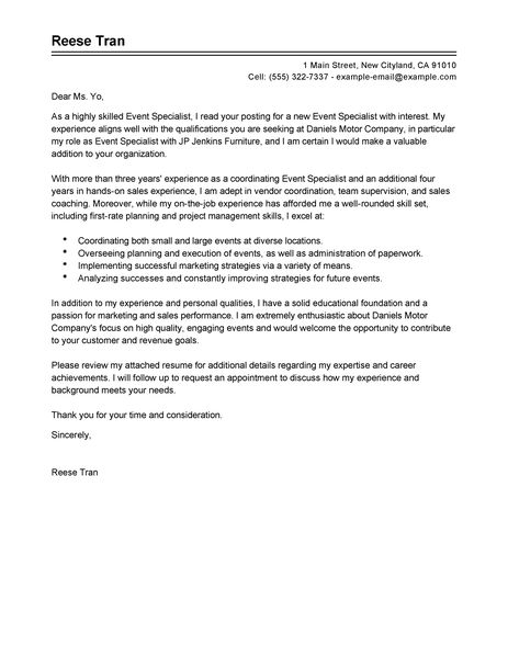 Event Specialist Cover Letter Examples  Sales Cover Letter Examples  LiveCareer