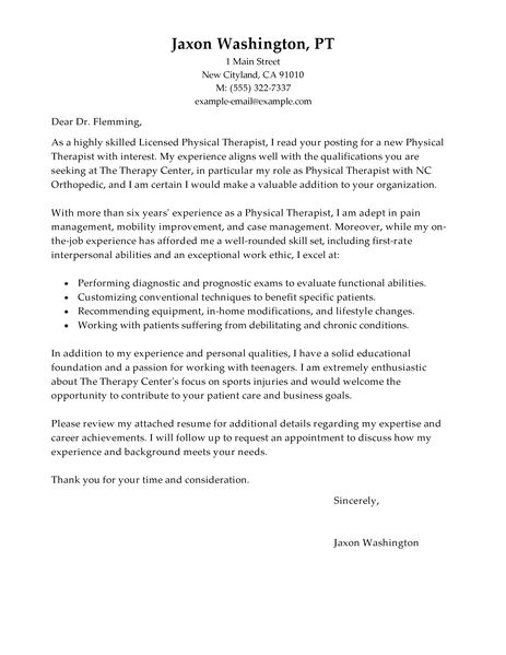 Physical Therapist Cover Letter Examples Healthcare