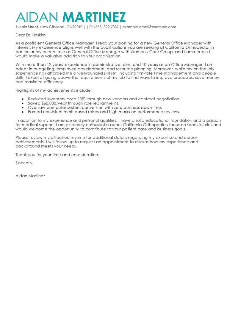best admin general manager cover letter examples livecareer - Office Manager Cover Letters
