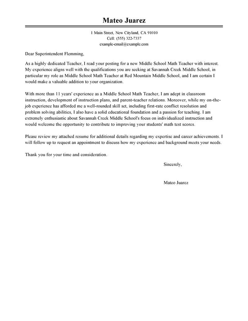 Best Teacher Cover Letter Examples LiveCareer