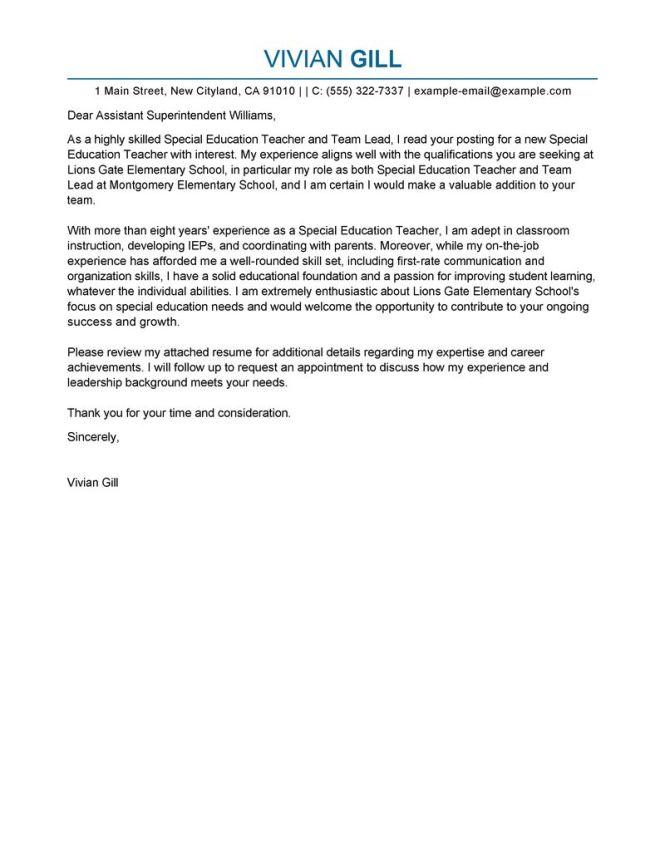 Gallery Of Sle Cover Letter For New Teachers