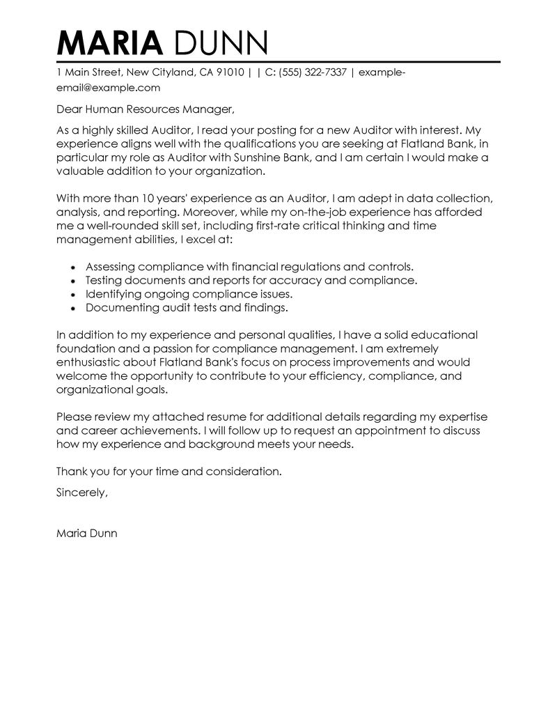 Sample internal audit manager cover letter