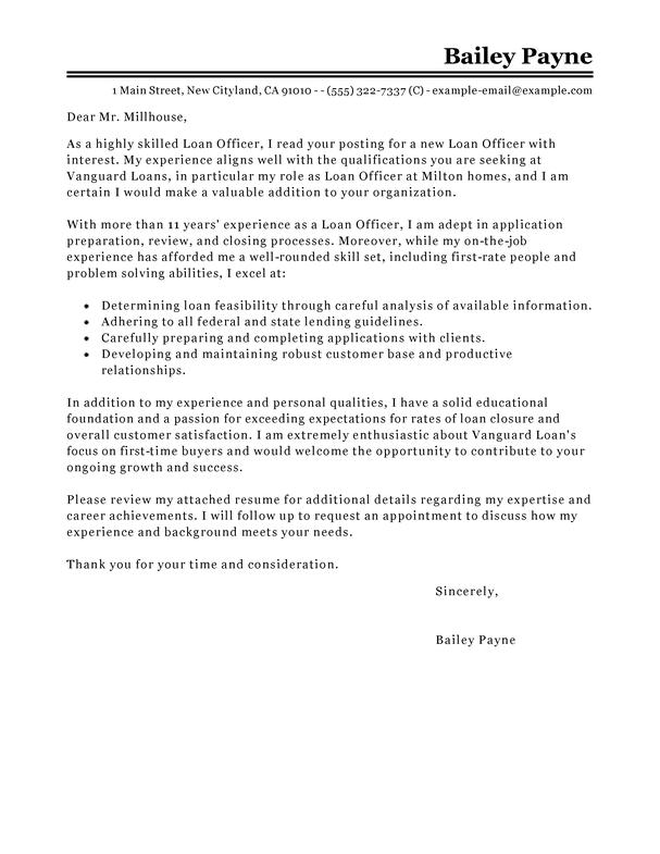 Lending Assistant Cover Letter