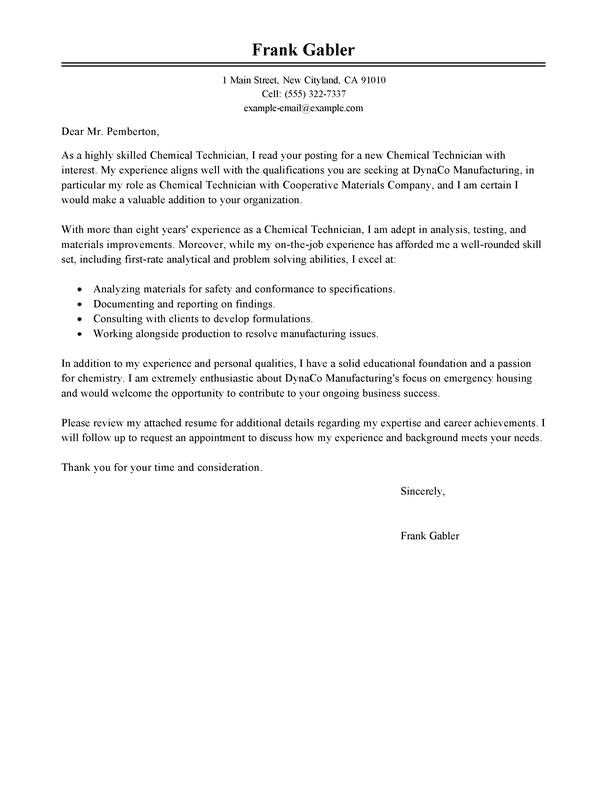Best Chemical Technicians Cover Letter Examples  LiveCareer