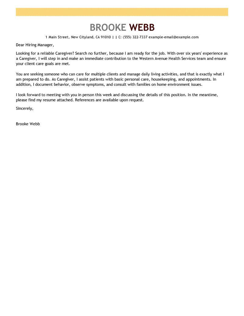Best Caregiver Cover Letter Examples  LiveCareer