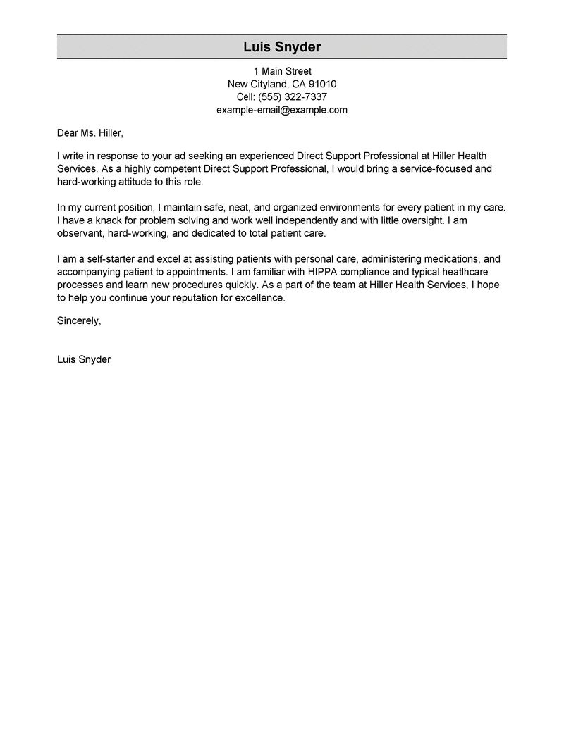 Best Direct Support Professional Cover Letter Examples  LiveCareer