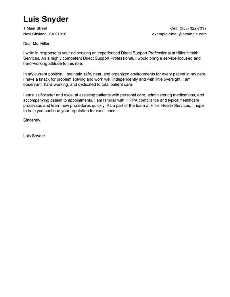Best Direct Support Professional Cover Letter Examples