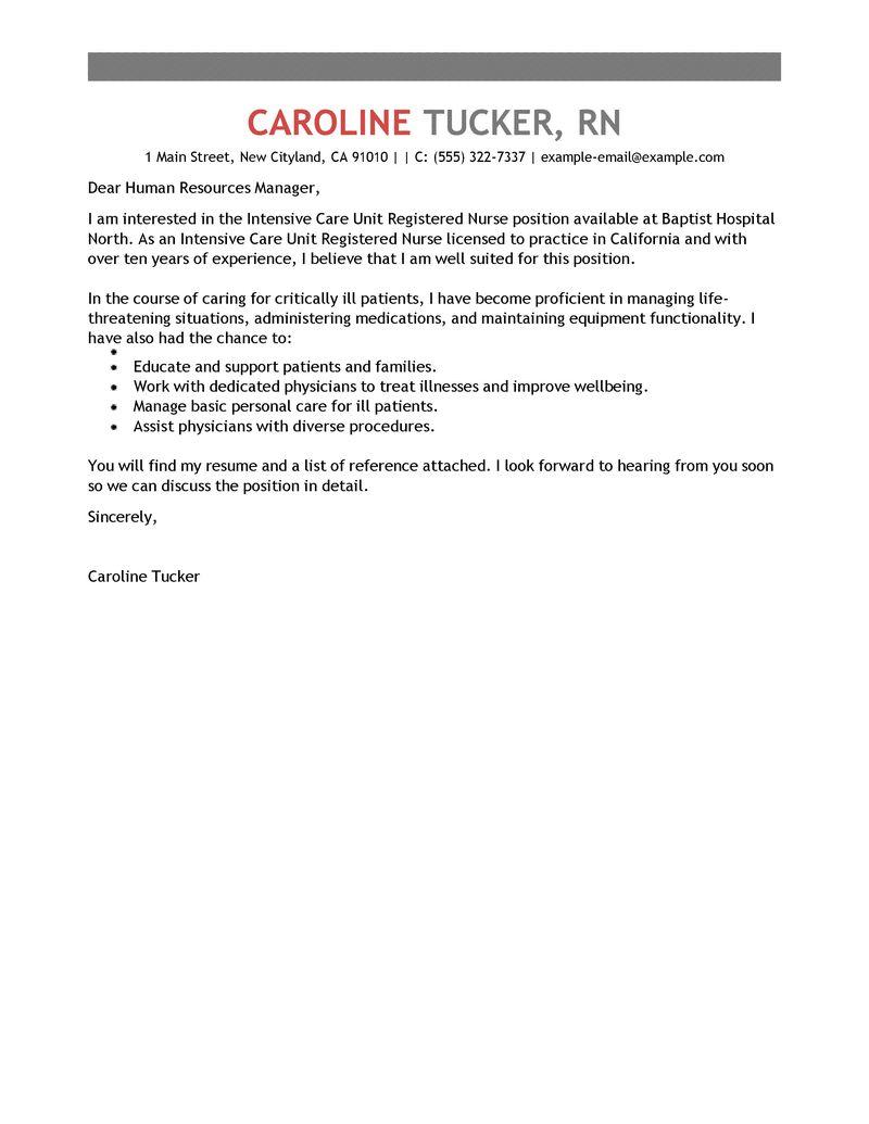 Best Intensive Care Unit Registered Nurse Cover Letter Examples  LiveCareer