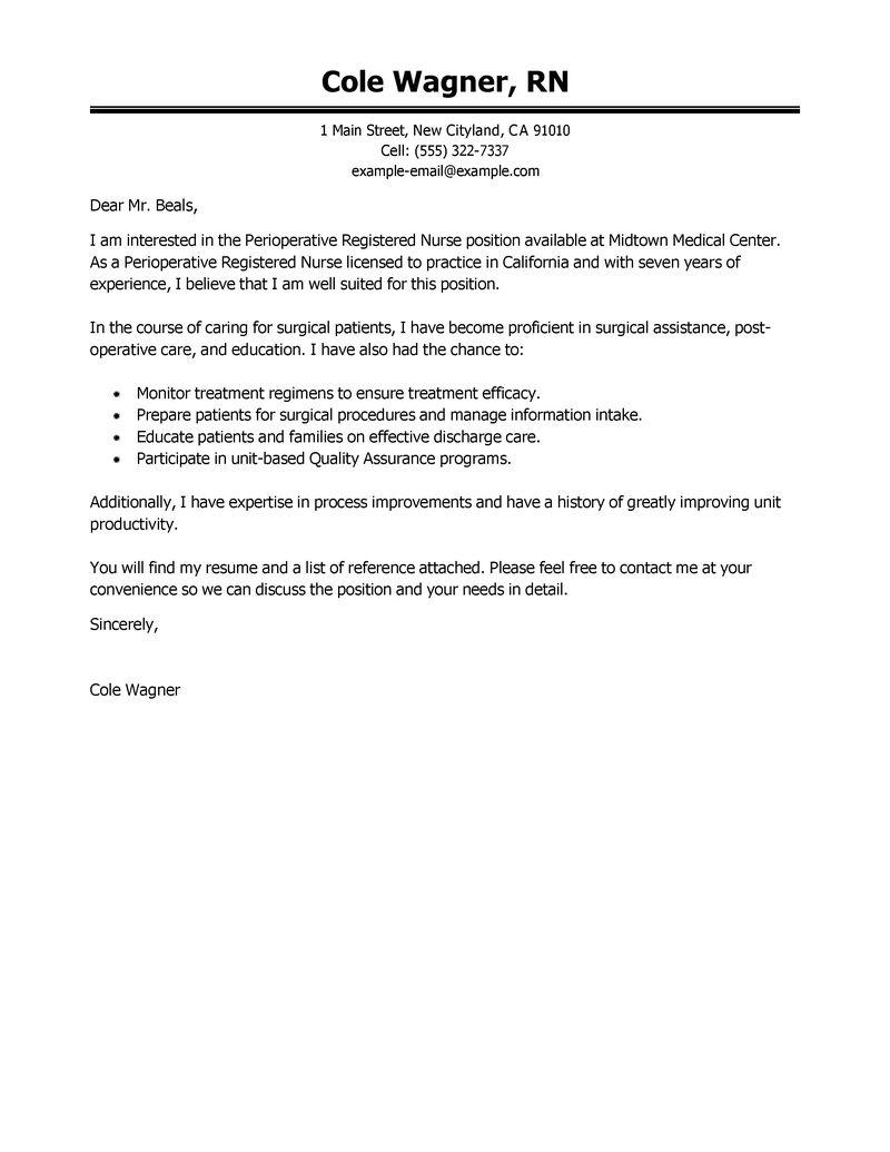 High Quality Cover Letter Registered Nurse