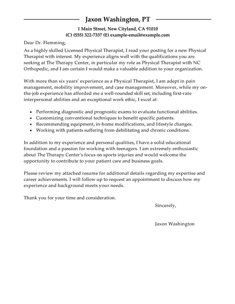 Essay On Physical Therapy Cover Letter Physical Therapist Examples