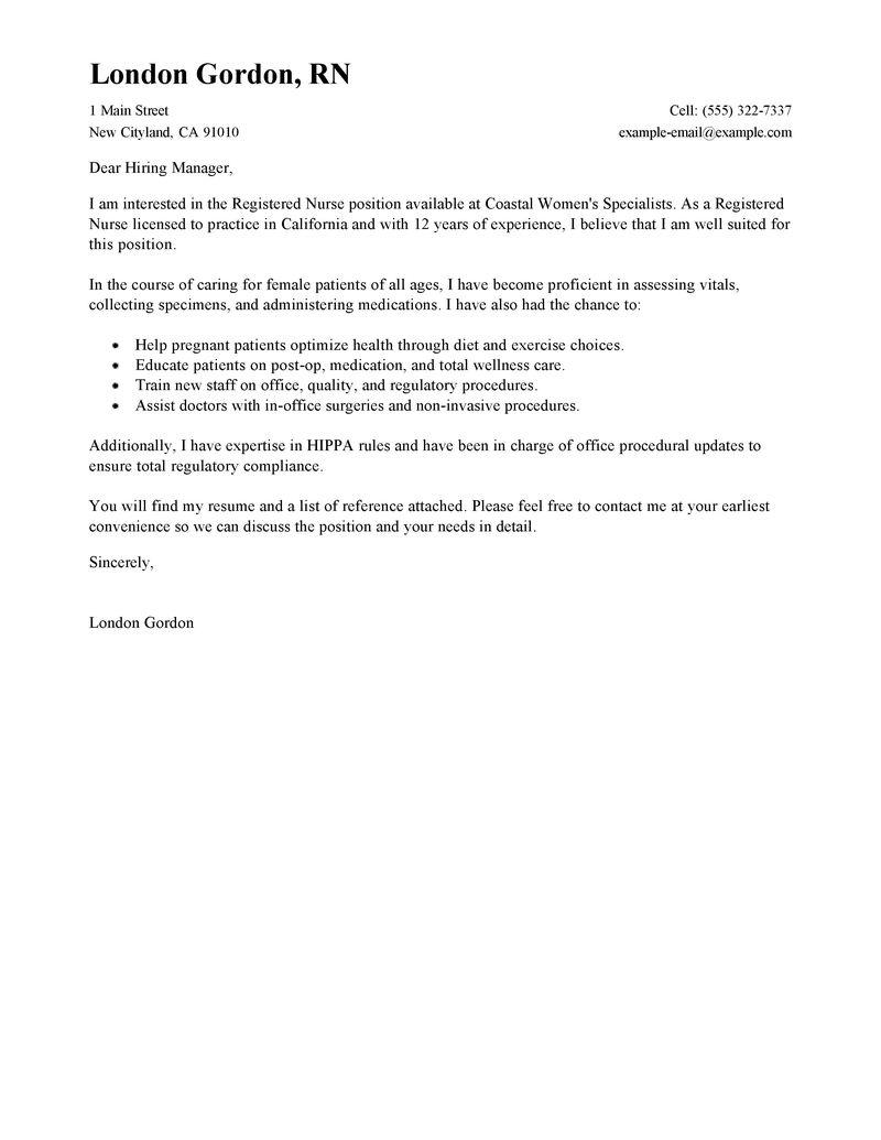 registered nurse resume cover letter samples