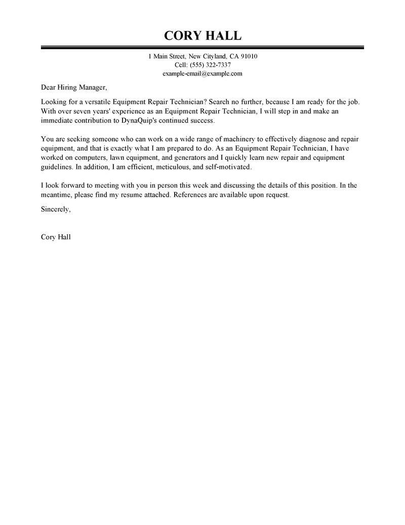 Best Installation  Repair Cover Letter Examples  LiveCareer