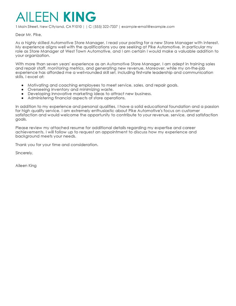 cover letter for part time retail job